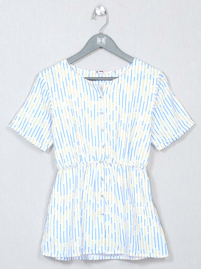 White cotton printed top for casual look