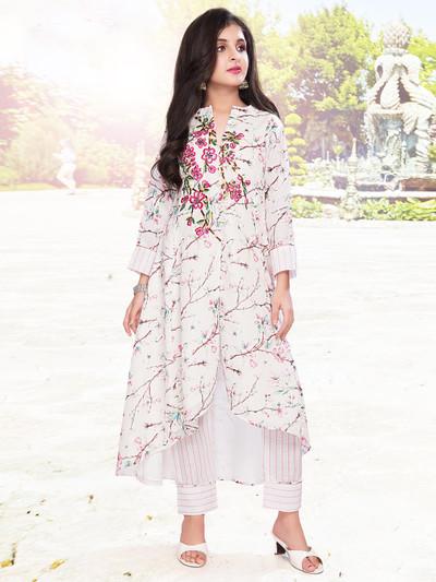 White cotton salwar suit for girls