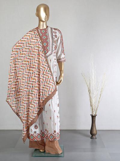 white cotton silk festive weare palazzo suit