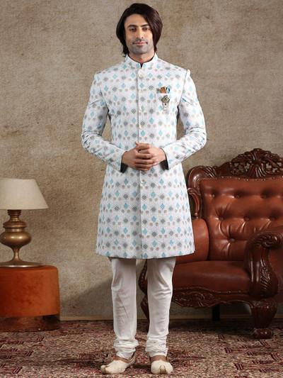 White cotton silk indo western with churidar