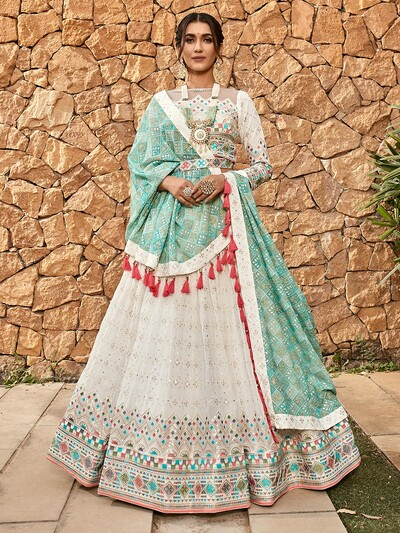 White designer wedding lehenga choli in georgette