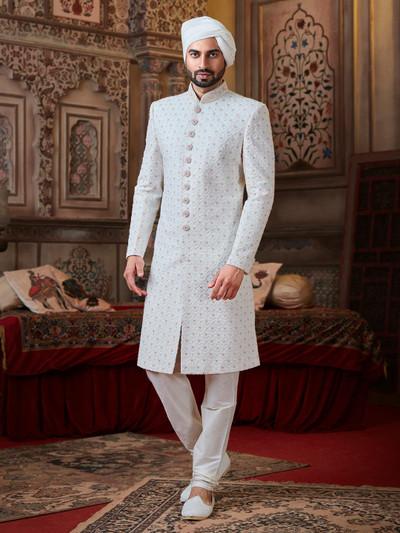 White georgette lakhnavi sherwani with matching churidar