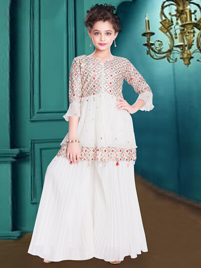 White georgette party wear palazzo suit