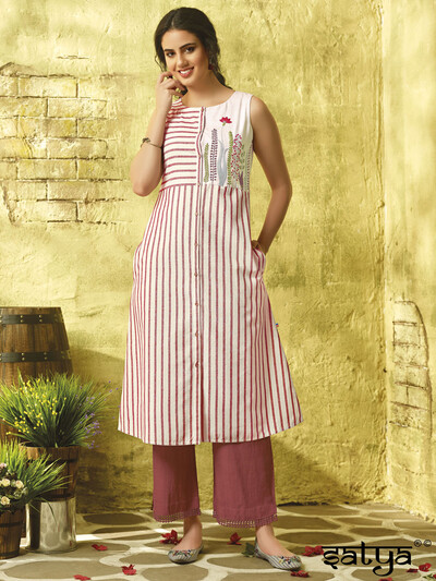 White hue cotton casual stripe pattern kurti