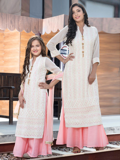 White lucknowi work georgette mother daughter matching Palazzo Suit