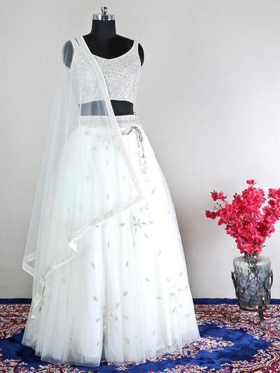 White net designer lehenga choli for wedding