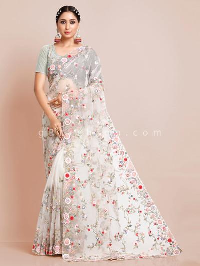White organza tissue silk wedding wear saree