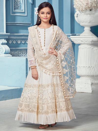 White party wear anarkali salwar suit in net