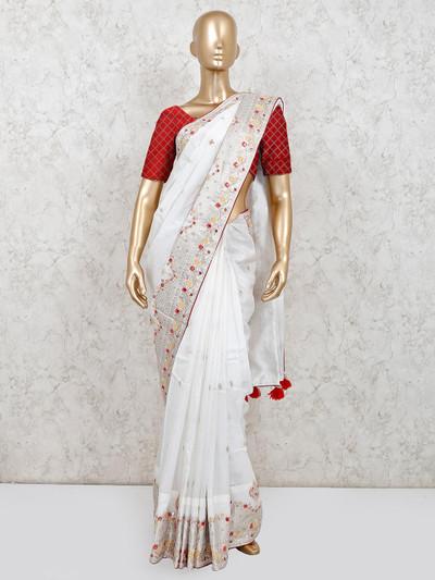 White party wear muga silk saree