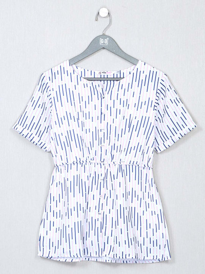White poly cotton casual top