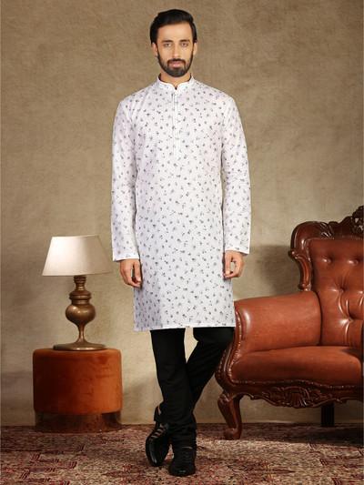 White printed cotton kurta suit in festive