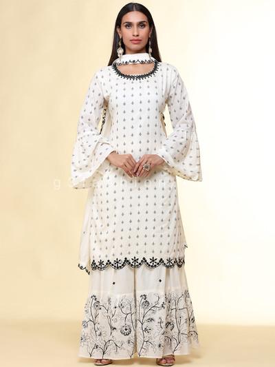 White punjabi sharara printed suit in cotton