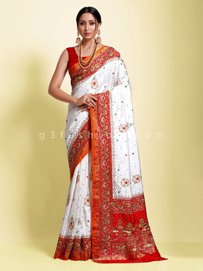 White pure silk designer saree with contrast embellished pallu