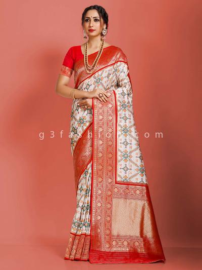 White semi patola silk colorfull thread and zari weaving saree