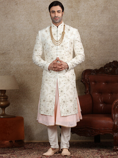White silk fabric sherwani for wedding occasions