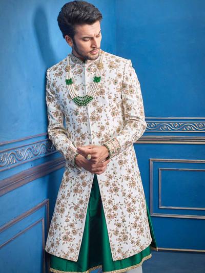 White silk groom wear sherwani