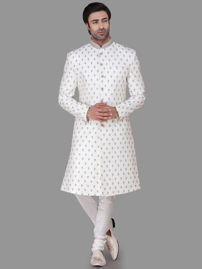 White silk indo western for mens