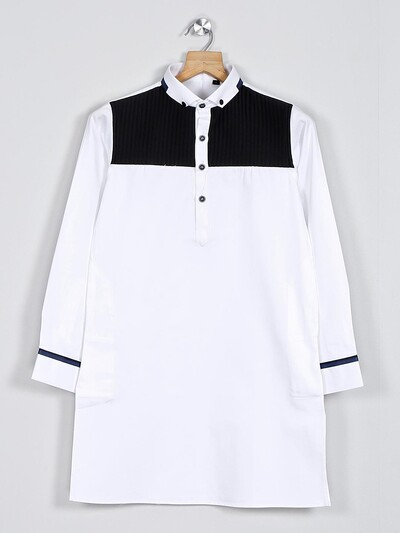 White solid pathani suit for boys
