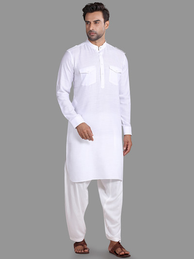 White solid pathani suit for festive wear