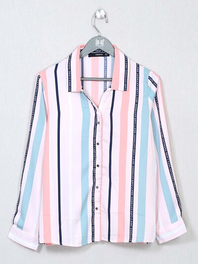 White striped casual top for women