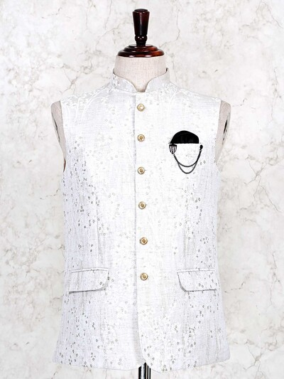 White thread woven cotton waistcoat for mens