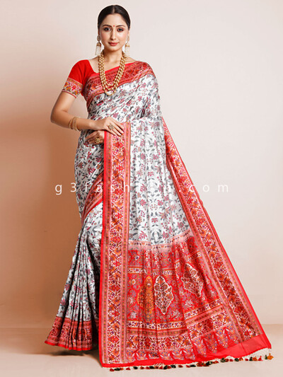 White wedding wear designer banarasi silk sari