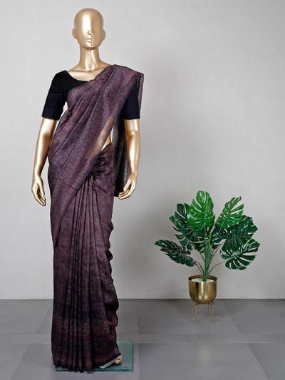 Wine colored cotton festive wear saree