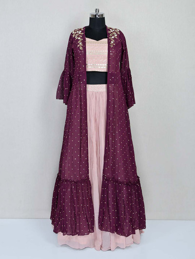 Pink and wine jacket style salwar suit for wedding