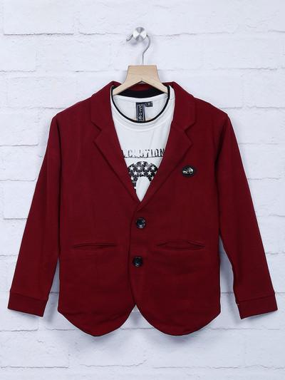 Wine maroon cotton fabric party blazer