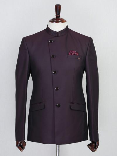 Wine terry rayon mens jodhpuri suit