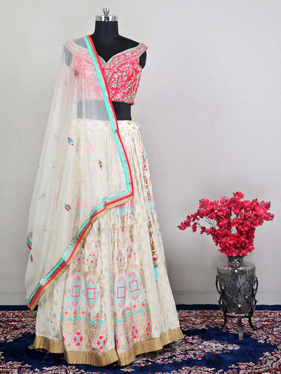 Womens pink raw silk lehenga choli in raw silk