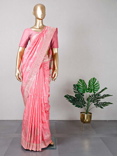 Womens pink silk saree for wedding session