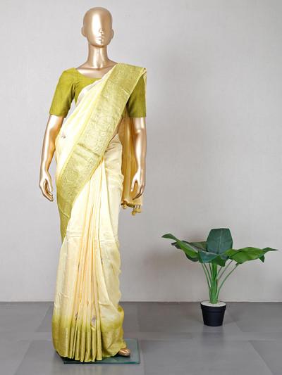 Womens silk saree in lemon yellow