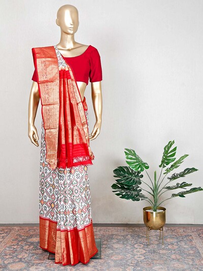 Womens white hue patola silk for wedding