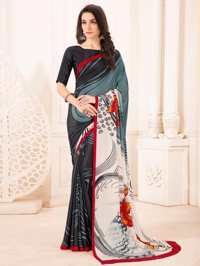 Wonderful black and grey crepe printed saree