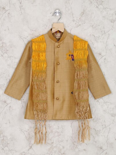 Yellow and brown indo western for boys