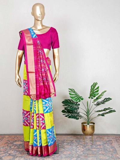 Yellow and magenta patola silk saree for wedding