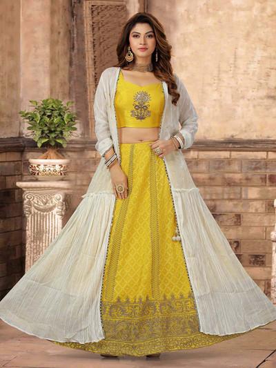 Yellow and white designer lehenga style salwar kameez