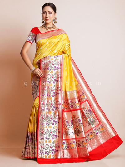 Yellow banarasi paithani silk saree