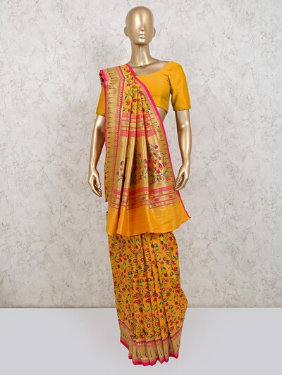 Yellow banarasi silk saree for wedding season