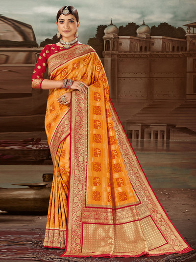 Yellow banarasi silk wedding wear saree for women