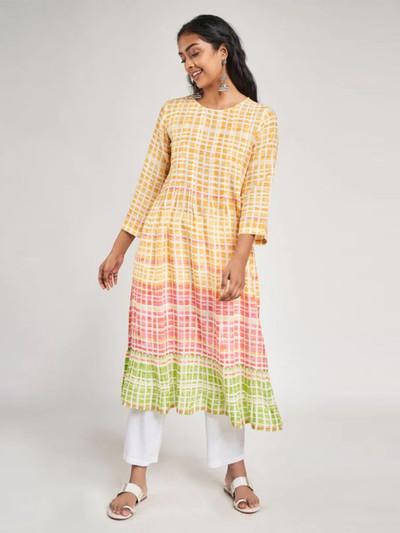 Yellow casual wear cotton tunic