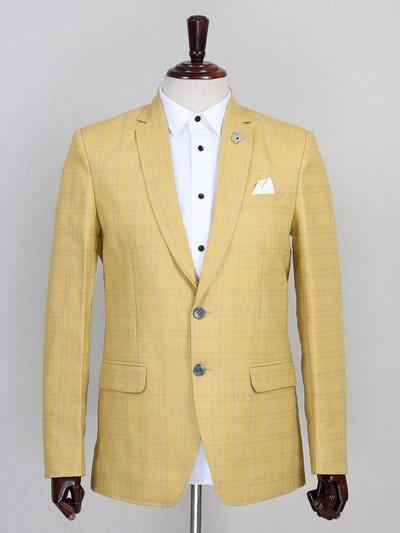 yellow checks pattern jute blazer