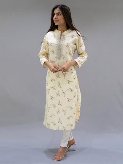Yellow color cotton punjabi style pant suit