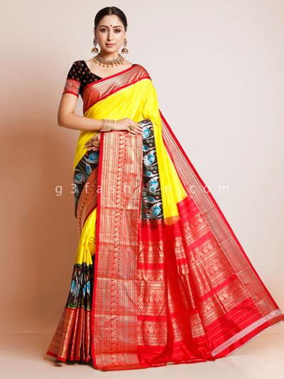 Yellow colored banarasi paithani silk saree