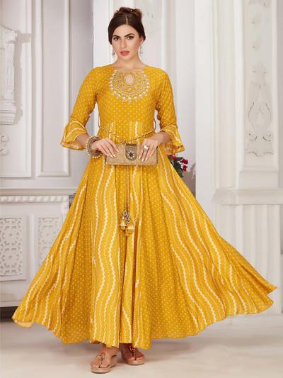 Yellow colour festive wear printed cotton kurti