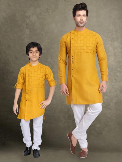 Yellow cotton father son kurta suit with churidar