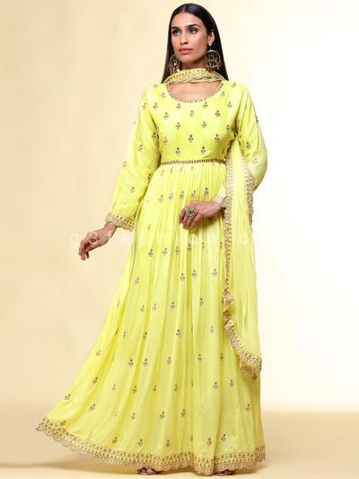 Yellow cotton festive anarkali salwar suit
