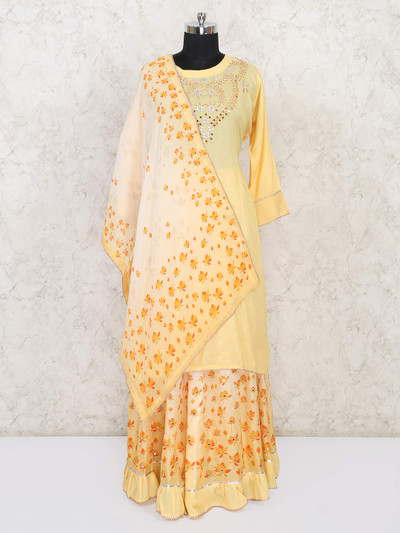 Yellow cotton festive function punjabi lehenga suit