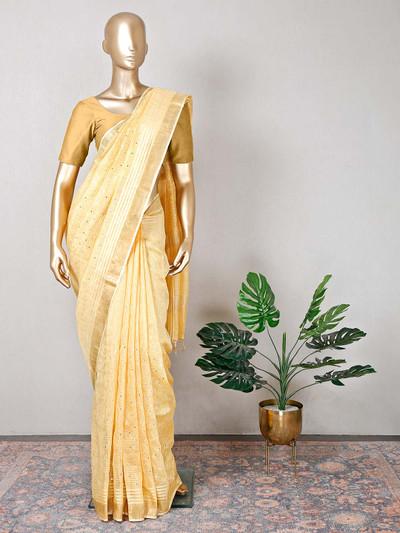 Yellow cotton festive occasions saree